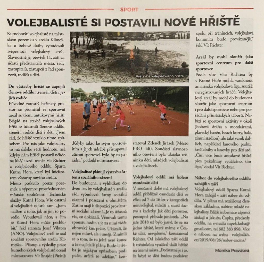 Volejbal v Kutnohorských listech